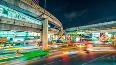 Bangkok city night view with main traffic. November, 2016. 4K TimeLapse Stock Footage