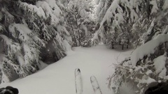 Downhill skiing in a whiteout on a snow covered mountain. Stock Footage