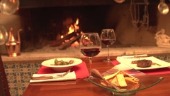 Slider shot of Food and Wine Stock Footage
