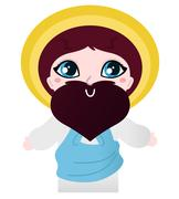 Cute Jesus Christ character isolated on white Stock Illustration