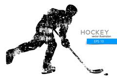 Silhouette of a hockey player. Stock Illustration