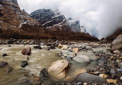 Machapuchare base camp area, ABC trek (Annapurna Base Camp trek), Nepal Stock Photos