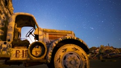 MoCo Astro Timelapse of Moonrise over Painted Landscape in Slab City -Long Crop- Stock Footage