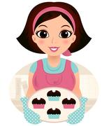 Young baking woman holding cookies Stock Illustration