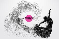 Silhouette of a dancing girl from particle. Dancer woman. Stock Illustration
