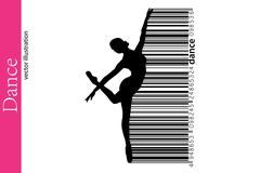 Silhouette of a dancing girl and barcode. Dancer woman. Stock Illustration