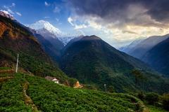 Chomrong Village Area, ABC trek (Annapurna Base Camp trek), Nepal Stock Photos