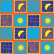 Sun and Moon Seamless Pattern Stock Illustration
