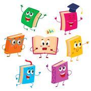 Set of funny book characters, mascots, cartoon vector illustration Stock Illustration