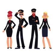 Airplane crew of pilots and stewardesses, cartoon vector illustration Stock Illustration