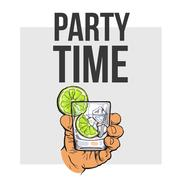 Hand holding glass of gin, vodka, water with ice, lime Stock Illustration