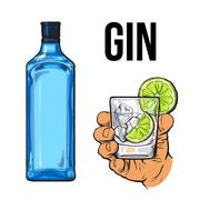 Blue gin bottle, hand holding glass with ice and lime Stock Illustration