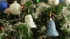 Baubles Plastic Gray Silver Blue Christmas Tree Decoration Bells Stock Footage