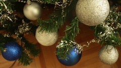 Baubles Plastic Snow Glitter Falls Silver Blue Christmas Tree Decoration Stock Footage
