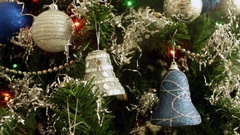 Baubles Plastic Gray Silver Blue Christmas  Tree Decoration Holidays Stock Footage