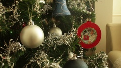 Baubles Christmas New Year Holidays Tree Lights Stock Footage