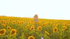 Beautiful girl goes cherz field of yellow sunflowers, sunflower flowers swaying Stock Footage