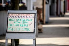 Handwritten shop sign, Homer Spit, Kachemak Bay, Alaska, USA Stock Photos