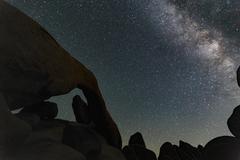 Silhouette of rocks and starry night sky, Joshua Tree, California, USA Stock Photos