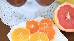 Chocolate pudding with whipped cream and fruits  9 Stock Footage