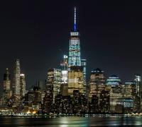 Skyline illuminated at night, Hoboken, New Jersey, USA Kuvituskuvat