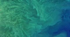 High-altitude aerial - colorful waters of Tyuleniy Archipelago North Caspian Sea Stock Footage