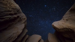 Astro Timelapse of Night Sky thru Canyon Walls in Mojave Desert -Pan Right- Stock Footage