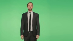 Language of the body. man in suit, green background. gesture to shrug. hromakey Stock Footage
