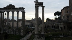 White marble Arch of Septimius Severus, Roma Stock Footage
