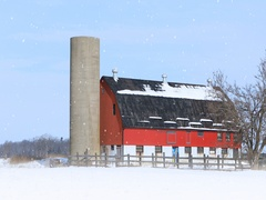 4K UltraHD Red barn in a winter landscape Stock Footage