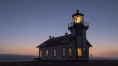 Time Lapse of Sunset and the Fog Rolling In at Point Cabrillo Lighthouse, CA 4K Stock Footage