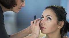 Master class for make-up artists. Sculpting make up. Stock Footage