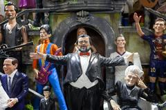 Handmade figurines and painted, famous people. Stock Photos