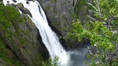 Waterfall in Voringfossen Norway Stock Footage