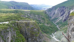 Overview from the gorge in Voringfossen Stock Footage