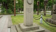 Monument of Antanas Juozapavicius, Kaunas, Lithuania Stock Footage