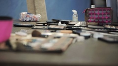 Master class for make-up artists. Cosmetics and toiletries. Stock Footage