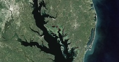 High-altitude aerial of waters and coastlands of the Delmarva Peninsula Stock Footage