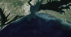High-altitude aerial of waters and coastlands of the Chesapeake Bay Stock Footage