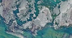 High-altitude aerial - sea ice around Tyuleniy Archipelago, North Caspian Sea Stock Footage