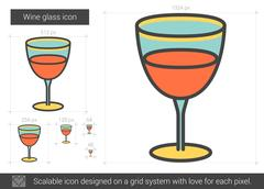 Wine glass line icon Stock Illustration