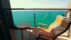 A place to relax on a comfortable chair overlooking the ocean Stock Footage