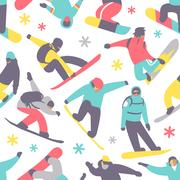 Snowboard seamless pattern vector Piirros