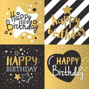 Set of beautiful birthday invitation cards vector Stock Illustration