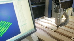 Milling machines with numerical control software, wood, decorative details Stock Footage