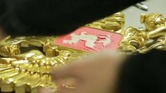 Grunge golden potal . Foil on architectural detail. Cracelures bitumen varnish. Stock Footage