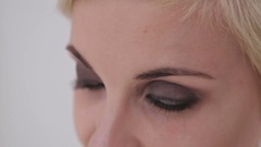Close up of young woman's eyes Stock Footage
