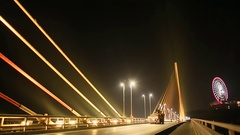 The Bai Chay Bridge in Ha Long, Traffic at night Stock Footage