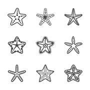 Vector set of various contour sea starfish Stock Illustration