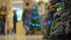 Concept Christmas Shopping in the Mall and Festive Mood and Emotions in Blur Stock Footage